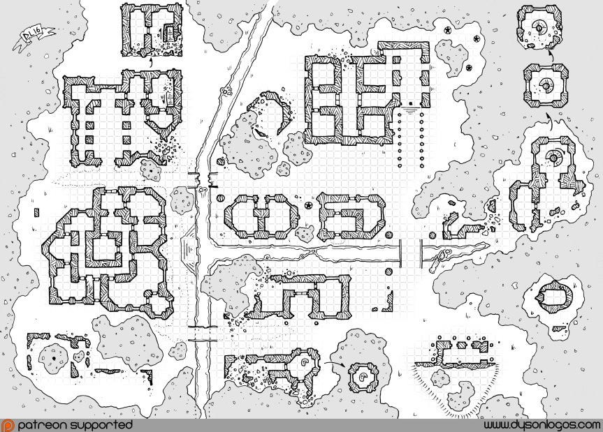 Ruined City with Grid & Trees