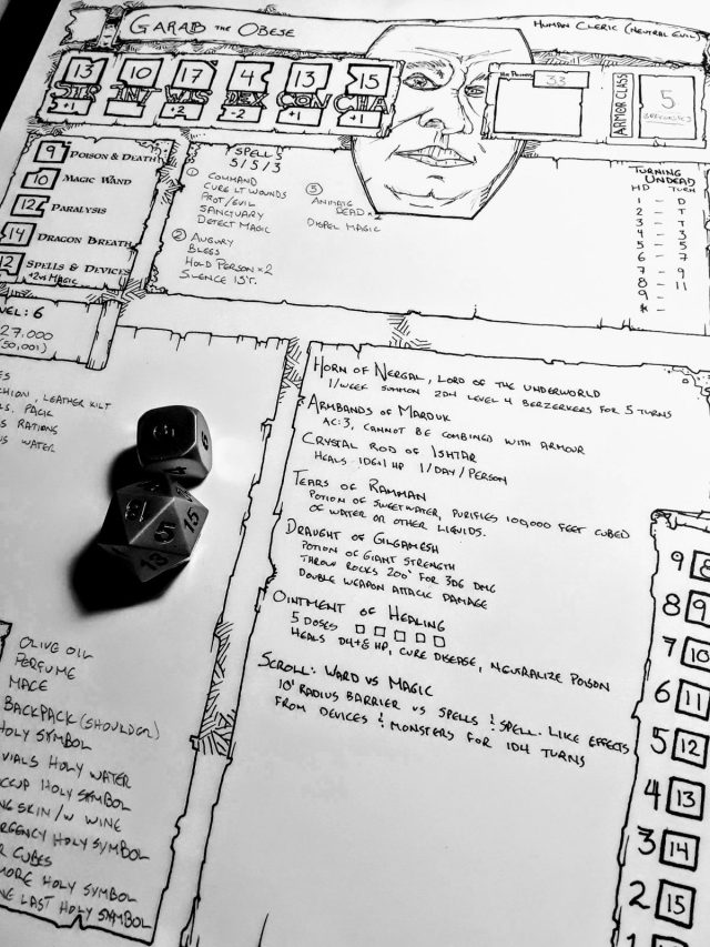 Two Old School D D Character Sheets Ddocentral