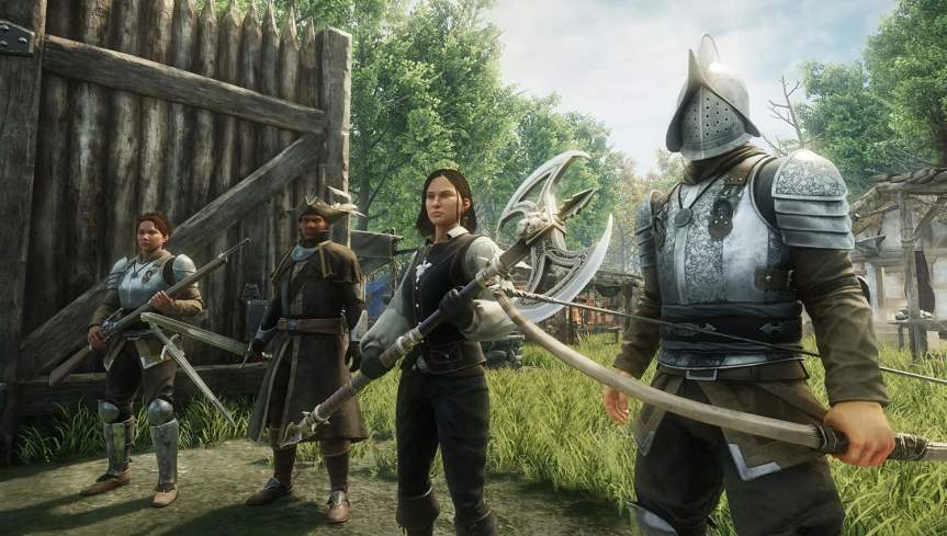 A promotional screenshot from Amazon's upcoming MMO New World.