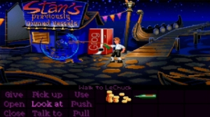 The Secret of Monkey Island, video game, ghost, pirates, LeChuck, Guybrush Threepwood, root beer, grog machine, Stan's Previously Owned Vessels, boatyard