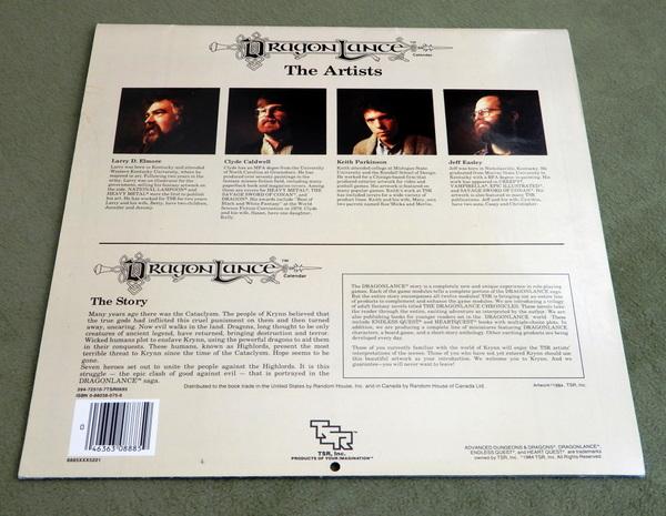 1985 Dragonlance calendar back