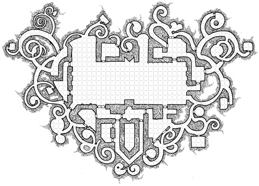 A Heart-Shaped Dungeon (with grid)