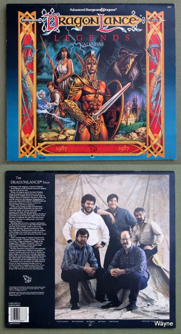 1987 advanced dungeons & dragons calendar - dragonlance coll