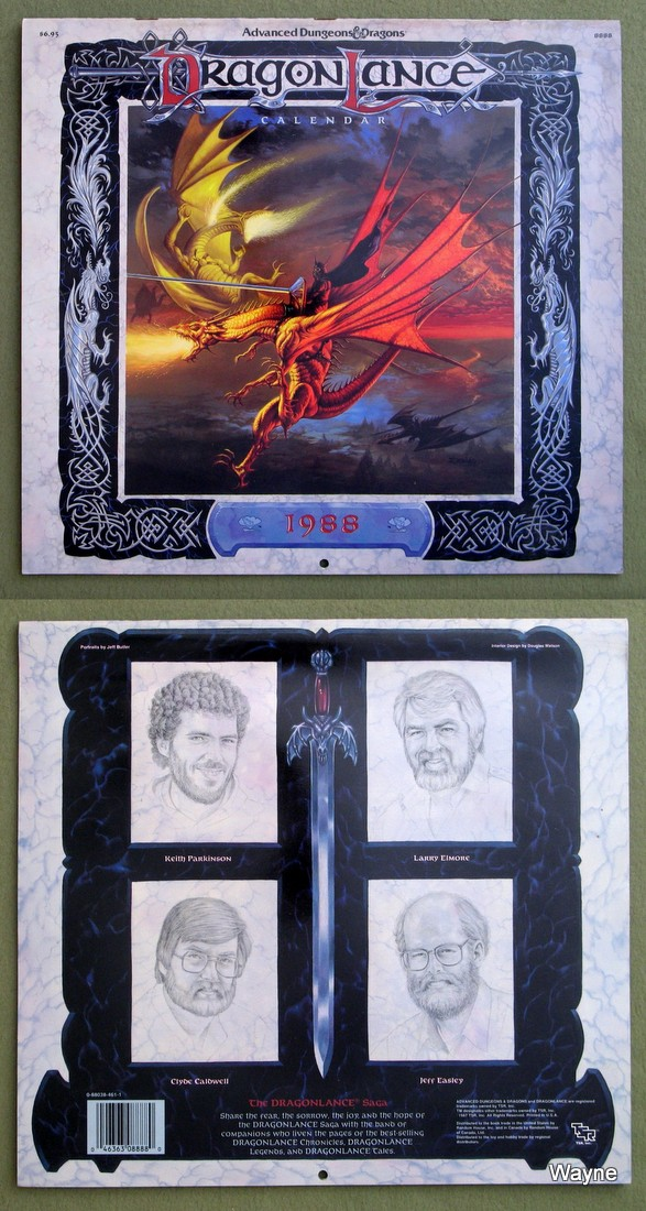 1988 advanced dungeons & dragons calendar - dragonlance coll