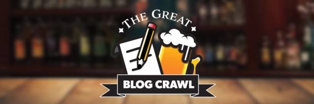 The Great Blog Crawl, logo, title, writing, beer