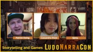 LudoNarraCon, panel, stream, Peter Ewing, Cassandra Kwan, Strix