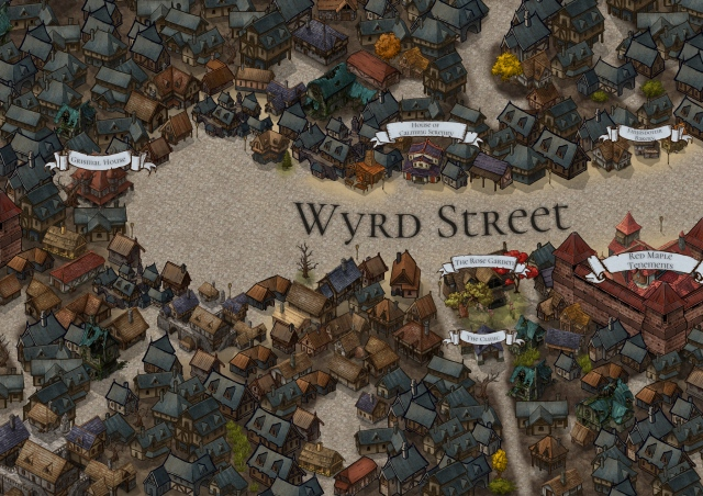 A map of Wyrd Street, the titular setting of my upcoming tabletop role-playing game. Map created via Inkarnate.
