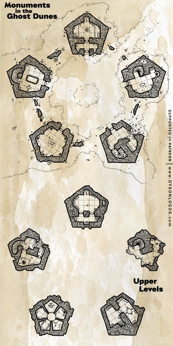 Pentagonal Monuments in the Ghost Dunes